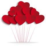 Μπαλόνια καρδιών ημέρας βαλεντίνων στο κόκκινο υπόβαθρο απεικόνιση αποθεμάτων