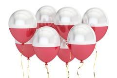 Μπαλόνια με τη σημαία της Πολωνίας, holyday έννοια τρισδιάστατη απόδοση Στοκ Εικόνες
