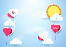 Μπαλόνια μορφής καρδιών που πετούν τον ουρανό με το υπόβαθρο ήλιων απεικόνιση αποθεμάτων