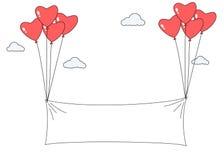 Μπαλόνια μορφής καρδιών που φέρνουν το κενό έμβλημα Στοκ Εικόνες