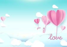 Μπαλόνια μορφής καρδιών ύφους τέχνης εγγράφου που πετούν στον ουρανό απεικόνιση αποθεμάτων
