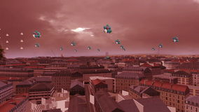 Μπαλόνια που πετούν πέρα από την τρισδιάστατη πόλη απόθεμα βίντεο