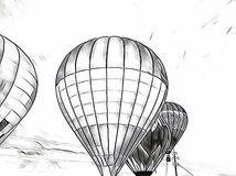 Μπαλόνι αέρα που πετά στον ουρανό Μονοχρωματική έκθεση επιπλεόντων σωμάτων μπαλονιών αέρα στον τομέα επαρχίας Στοκ Εικόνα