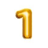 Μπαλόνι αριθμός 1 ένα τρισδιάστατο χρυσό ρεαλιστικό αλφάβητο φύλλων αλουμινίου Στοκ Εικόνες