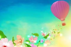Μπαλόνι ζεστού αέρα με τα λουλούδια που πετούν από διανυσματική απεικόνιση