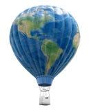 Μπαλόνι ζεστού αέρα με τον παγκόσμιο χάρτη Στοκ Εικόνες