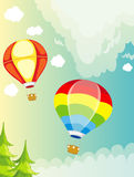Μπαλόνι ζεστού αέρα τοπίων στον ουρανό διανυσματική απεικόνιση