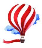 Μπαλόνι ζεστού αέρα Watercolor Συρμένα χέρι εκλεκτής ποιότητας μπαλόνια αέρα με Στοκ Εικόνες