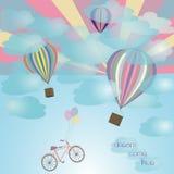Μπαλόνι και ποδήλατο Στοκ Εικόνα