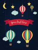 Μπαλόνι και φεγγάρι ζεστού αέρα με τα αστέρια Διανυσματική χαρτί-τέχνη Στοκ Εικόνες