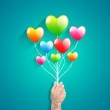 Μπαλόνι καρδιών και χέρι πολυγώνων αφηρημένο διάνυσμα αγάπης &alph Στοκ Φωτογραφίες
