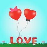Μπαλόνι καρδιών καρτών ημέρας βαλεντίνου Ελεύθερη απεικόνιση δικαιώματος