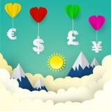 Μπαλόνι καρδιών με το αμερικανικό δολάριο, ευρώ, λίβρα της Μεγάλης Βρετανίας, ιαπωνικά απεικόνιση αποθεμάτων