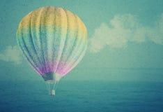 Μπαλόνι πέρα από το υπόβαθρο εγγράφου τοπίων θάλασσας watercolor grunge Στοκ Εικόνες