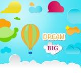 Μπαλόνι στο όνειρο ουρανού μεγάλο Στοκ Φωτογραφία