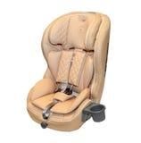 Μπεζ δέρματος κάθισμα αυτοκινήτων μωρών αυτόματο που απομονώνεται Στοκ Εικόνες