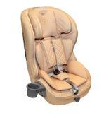 Μπεζ δέρματος κάθισμα αυτοκινήτων μωρών αυτόματο που απομονώνεται Στοκ φωτογραφία με δικαίωμα ελεύθερης χρήσης
