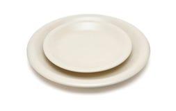 μπεζ απομονωμένο πιατάκι πιάτων Στοκ Φωτογραφίες