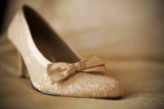 μπεζ γάμος παπουτσιών Στοκ εικόνα με δικαίωμα ελεύθερης χρήσης