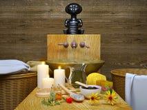 μπεζ κεριών dayspa φυσικό wellness πετσετών φύσης καθορισμένο θέτοντας soap spa SP Στοκ Φωτογραφία
