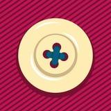 Μπεζ κουμπί κινούμενων σχεδίων που ράβεται στο κόκκινο τζιν ελεύθερη απεικόνιση δικαιώματος