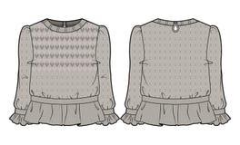 Μπεζ πλεκτή μπλούζα με την εκτενή διακόσμηση Στοκ Φωτογραφία