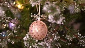 Μπεζ σφαίρα Χριστουγέννων στο χριστουγεννιάτικο δέντρο απόθεμα βίντεο