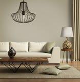 Μπεζ σύγχρονος σύγχρονος καναπές με τα πράσινα μαξιλάρια Στοκ εικόνα με δικαίωμα ελεύθερης χρήσης