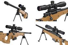 Μπεζ σύνολο πυροβόλων όπλων ελεύθερων σκοπευτών τουφεκιών, στενή άποψη Στοκ φωτογραφίες με δικαίωμα ελεύθερης χρήσης