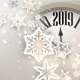 Μπεζ υπόβαθρο έτους του 2019 νέο με το ρολόι χαιρετισμός καλή χρονιά καρτών του 2007 απεικόνιση αποθεμάτων