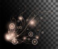 Μπεζ φωτισμός πυράκτωσης επίδρασης bokeh νέου με την απεικόνιση νημάτων με τη διακόσμηση μορίων που απομονώνεται στο διαφανές υπό Στοκ Φωτογραφία