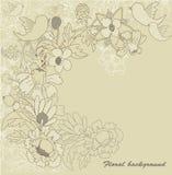 Μπεζ floral ανασκόπηση Στοκ Φωτογραφίες
