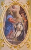 ΜΠΕΡΓΚΑΜΟ, ΙΤΑΛΙΑ - 16 ΜΑΡΤΊΟΥ 2017: Η νωπογραφία της εμφάνισης του Ιησού σε Άγιο Catherine στο dei SS Chiesa εκκλησιών Bartolome Στοκ Φωτογραφίες