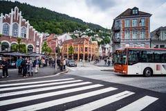 ΜΠΕΡΓΚΕΝ, ΝΟΡΒΗΓΙΑΣ - 15.2017 ΙΟΥΝΙΟΥ: Το Μπέργκεν είναι πόλη και ένας δήμος Στοκ Εικόνες