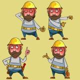 Μπερδεμένος ο κινούμενα σχέδια εργαζόμενος στο κράνος σε διάφορο θέτει διανυσματική απεικόνιση