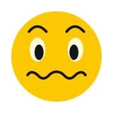 Μπερδεμένο emoticon εικονίδιο, επίπεδο ύφος Στοκ φωτογραφία με δικαίωμα ελεύθερης χρήσης