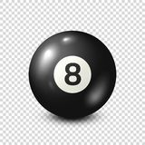 Μπιλιάρδο, μαύρη σφαίρα λιμνών με τον αριθμό 8 σνούκερ ανασκόπηση διαφανής επίσης corel σύρετε το διάνυσμα απεικόνισης απεικόνιση αποθεμάτων