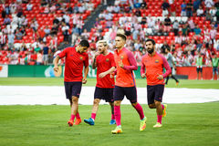 ΜΠΙΛΜΠΑΟ, ΙΣΠΑΝΙΑ - 28 ΑΥΓΟΎΣΤΟΥ: Λιονέλ Messi, Luis Suarez, Arda Turan και Denis Suarez στην αντιστοιχία μεταξύ του αθλητικών Μπ Στοκ εικόνα με δικαίωμα ελεύθερης χρήσης