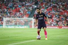 ΜΠΙΛΜΠΑΟ, ΙΣΠΑΝΙΑ - 28 ΑΥΓΟΎΣΤΟΥ: Το Arda Turan, παίκτης FC Βαρκελώνη, στην αντιστοιχία μεταξύ του αθλητικών Μπιλμπάο και FC Βαρκ Στοκ Εικόνες