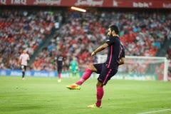 ΜΠΙΛΜΠΑΟ, ΙΣΠΑΝΙΑ - 28 ΑΥΓΟΎΣΤΟΥ: Το Arda Turan, παίκτης FC Βαρκελώνη, στην αντιστοιχία μεταξύ του αθλητικών Μπιλμπάο και FC Βαρκ Στοκ εικόνες με δικαίωμα ελεύθερης χρήσης