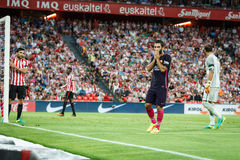 ΜΠΙΛΜΠΑΟ, ΙΣΠΑΝΙΑ - 28 ΑΥΓΟΎΣΤΟΥ: Arda Turan, παίκτης FC Βαρκελώνη, στη δράση κατά τη διάρκεια μιας ισπανικής αντιστοιχίας ένωσης Στοκ Φωτογραφία