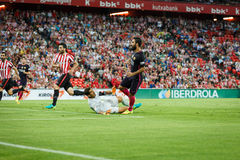 ΜΠΙΛΜΠΑΟ, ΙΣΠΑΝΙΑ - 28 ΑΥΓΟΎΣΤΟΥ: Arda Turan, παίκτης FC Βαρκελώνη, στη δράση κατά τη διάρκεια μιας ισπανικής αντιστοιχίας ένωσης Στοκ Εικόνες