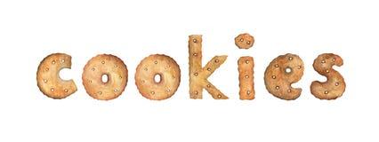 ΜΠΙΣΚΟΤΑ λέξης φιαγμένα από πραγματικά μπισκότα απεικόνιση αποθεμάτων