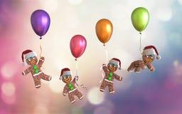 Μπισκότα ατόμων μελοψωμάτων που κρατούν ζωηρόχρωμο να επιπλεύσει μπαλονιών Στοκ Φωτογραφία