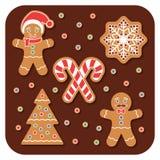 Μπισκότα ατόμων μελοψωμάτων Χριστουγέννων καθορισμένα απεικόνιση αποθεμάτων