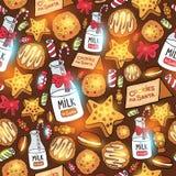 Μπισκότα γάλακτος για το άνευ ραφής σχέδιο Άγιου Βασίλη Στοκ Εικόνα