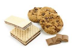Μπισκότα και γκοφρέτες σοκολάτας Στοκ Εικόνα