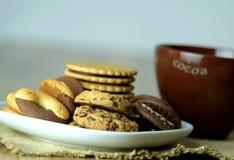 Μπισκότα και κακάο Κλείστε επάνω την όψη Στοκ Εικόνα