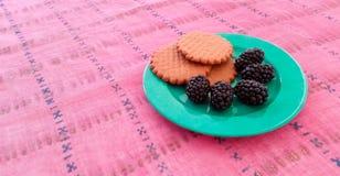 Μπισκότα και μαύρες μουριές σε ένα πιάτο Στοκ φωτογραφία με δικαίωμα ελεύθερης χρήσης