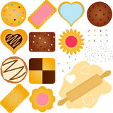 Μπισκότα και μπισκότο με μια ζύμη ελεύθερη απεικόνιση δικαιώματος